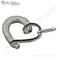 Romantic Heart Stylish Black Onyx & Cubic Zirconia Silver Pendant