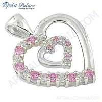Lovely Double Heart Pink & White CZ Gemstone SIlver Pendant