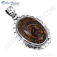 Vintage Designer Jasper Gemstone Sterling Silver Pendant