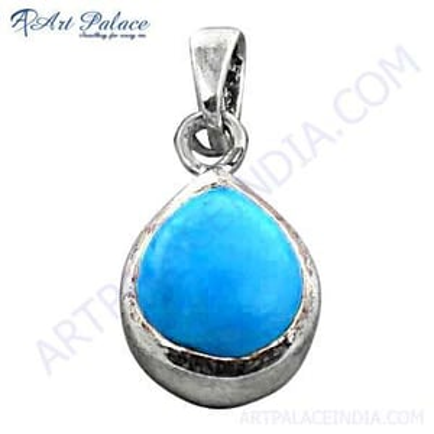 Costume Jewelry, Turquoise Gemstone Silver Pendant