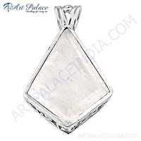 Top Quality Jewelry, Rainbow Moonstone Gemstone Silver Pendant