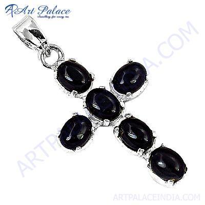 Trendy Cross Black Onyx Gemstone Silver Pendant