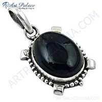 Victorian Designer Gemstone Silver Pendant With Black Onyx