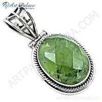 Delicate Prenite Gemstone Silver Pendant