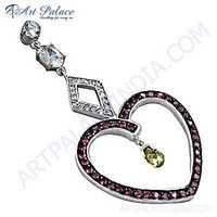 Romantic Heart Style Citrine, Pink & White Cubic Zirconia Silver Pendant