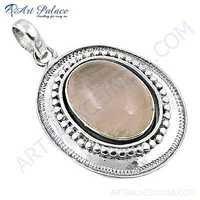 Victorian Designer Rose Quartz Gemstone Silver Pendant