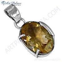 Charming Citrine Gemstone Silver Pendant