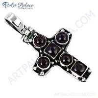 Trendy Cross Style Garnet Gemstone Silver Pendant