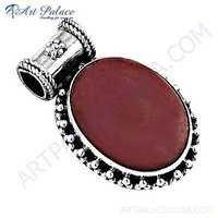 Vintage New Designer Pink Opalite Gemstone Silver Pendant