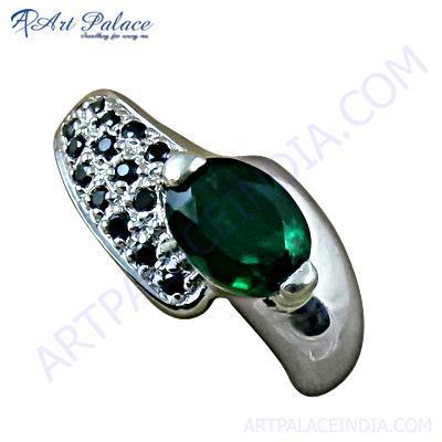 Exclusive Black Onyx & Green Glass Silver Pendant