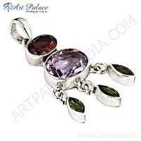 Famous Designer Amethyst,Garnet & Peridot Gemstone Silver Pendant