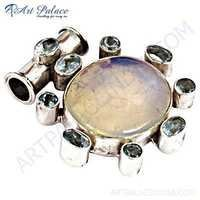 Party Wear Designer Blue Topaz & Opal Silver Pendant