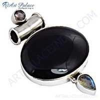 Exclusive Black Onyx & Rainbow Moonstone Silver Pendant