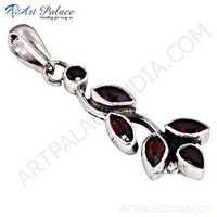 Antique Style Garnet Gemstone Silver Pendant