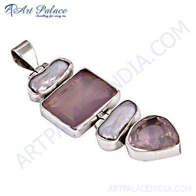 Romantic Pearl & Rose Quartz Gemstone Silver Pendant