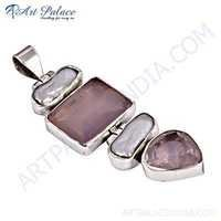 Romantic Pearl & Rose Quartz Gemstone Silver Pendant