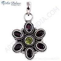 Party Wear Designer Garnet & Peridot Silver Pendant