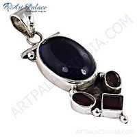 Rady to Wear Amethyst & Garnet Gemstone Silver Pendant