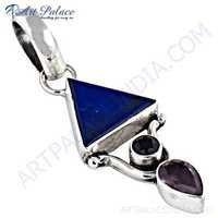 Celeb Style Amethyst, Iolite & Lapis Lazuli Sterling Silver Pendant