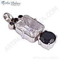 Elegant Gemstone Silver Pendant With Black Onyx, Black Spinel & Crystal