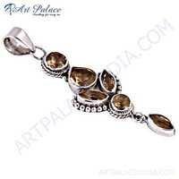 Indain Designer Citrine Gemstone Sterling Silver Pendant