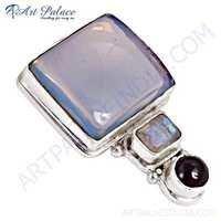 Fashion Accessories Garnet, Opal & Rainbow Moonstone Silver Pendant