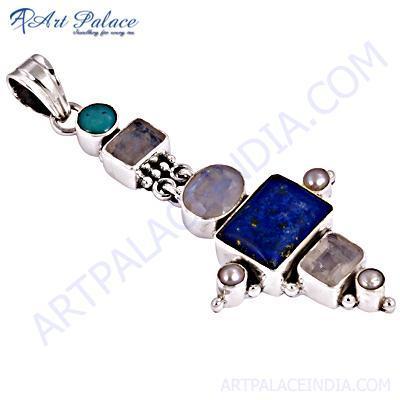 Latest Fashion Multi Stone Gemstone Silver Pendant