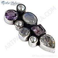 Precious Antique Multi Stone Gemstone Silver Pendant