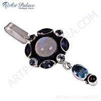 Fantastic Fashionable Multi Stone Silver Pendant