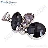 Latest Fashion Black Spinel, Crystal & Cubic Zirconia Gemstone Silver Pendant