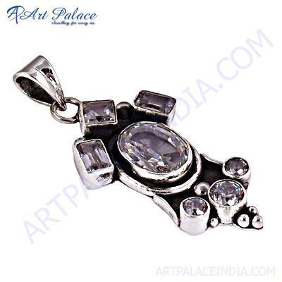 HOT!!! Luxury Crystal & Cubic Zirconia Gemstone Silver Pendant