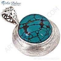 Costume Jewelry, Gemstone Silver Pendant With Turquoise
