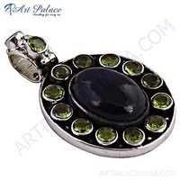 Festival Jewelry, Black Onyx & Peridot Gemstone Silver Pendant