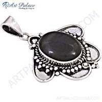 Traditional Black Rutilated Quartz Gemstone Silver Pendant