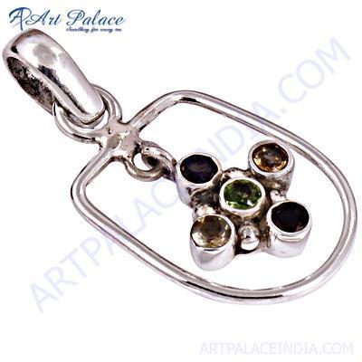 Celeb Style Multi Stone Sterling Silver Pendant