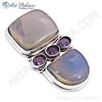 Wholesale Various Styles Amethyst & Synthetic Opal Gemstone Silver Pendant