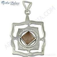 Top Quality Rose Quartz Gemstone Sterling Silver Pendant
