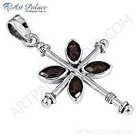 Antique Style Smokey Quartz Gemstone Silver Pendant