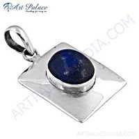 Celeb Style Lapis Lazuli Gemstone Sterling Silver Pendant