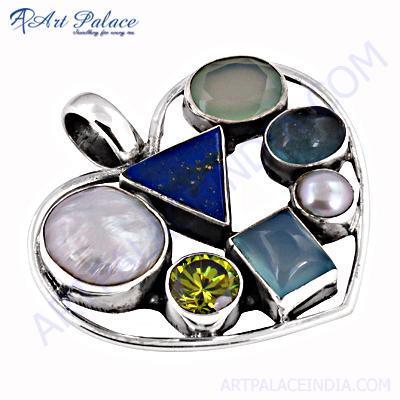 Dazzling Multi Stone Silver Heart Style Pendant