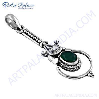 Excellent Designer Appetite Gemstone Silver Pendant