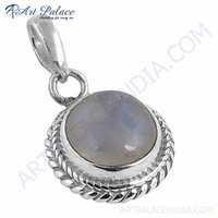 Ethnic Designer Rainbow Moonstone Silver Pendant