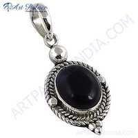 Midnite Black Onyx Gemstone Indain Designer Silver Pendant