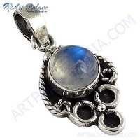 Celeb Style Rainbow Moonstone Sterling Silver Pendant