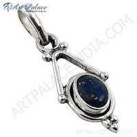 Antique Style Lapis Lazuli Gemstone Silver Pendant