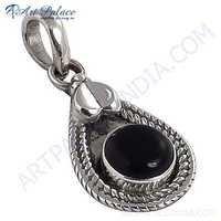 Hot !! Black Onyx Gemstone Deisgner Silver Pendant