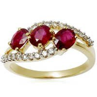 designer finger ring in 18k solid gold, pure gold ring with gemstones, ladies gold finger ring