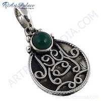 Ethnic Designer Green Onyx Gemstone Silver Pendant