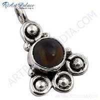 Indian Touch Tiger Eye Gemstone Silver Pendant