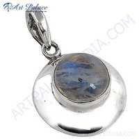 Celeb Style Rainbow Moonstone Sterling Silver Pendant